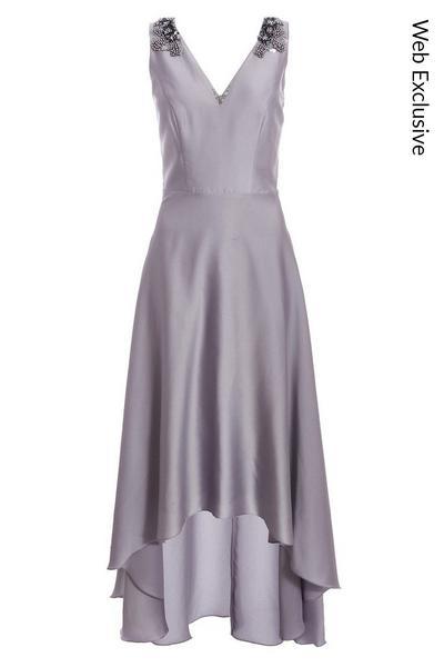 Grey Satin Embellished Dip Hem Dress